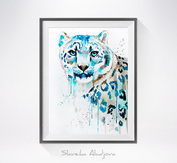 Original Watercolour Painting- Snow leopard, Snow leopard art, animal illustration, animal watercolor, animals paintings, animals, portrait,