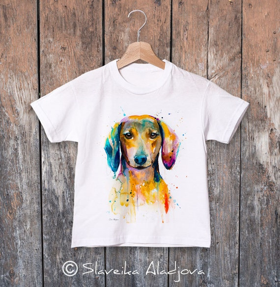 Dachshund watercolor kids T-shirt, Boys' Clothing, Girls' Clothing, ring spun Cotton 100%, watercolor print T-shirt, T shirt art