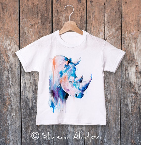 Rhino watercolor kids T-shirt, Boys' Clothing, Girls' Clothing, ring spun Cotton 100%, watercolor print T-shirt, T shirt art