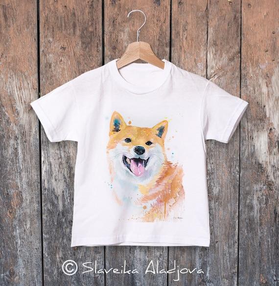 Shiba Inu watercolor kids T-shirt, Boys' Clothing, Girls' Clothing, ring spun Cotton 100%, watercolor print T-shirt, T shirt art