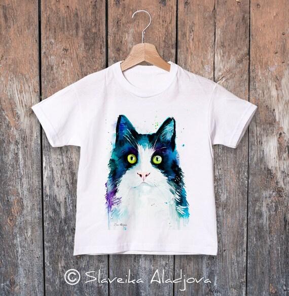 Cat watercolor kids T-shirt, Boys' Clothing, Girls' Clothing, ring spun Cotton 100%, watercolor print T-shirt,T shirt art