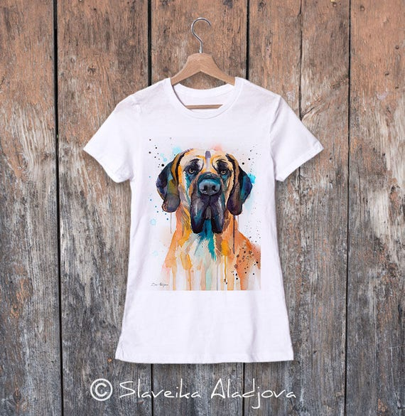 Fawn Great Dane watercolor ladies' T-shirt, women's tees, Teen Clothing, Girls' Clothing, ring spun Cotton 100%, watercolor print
