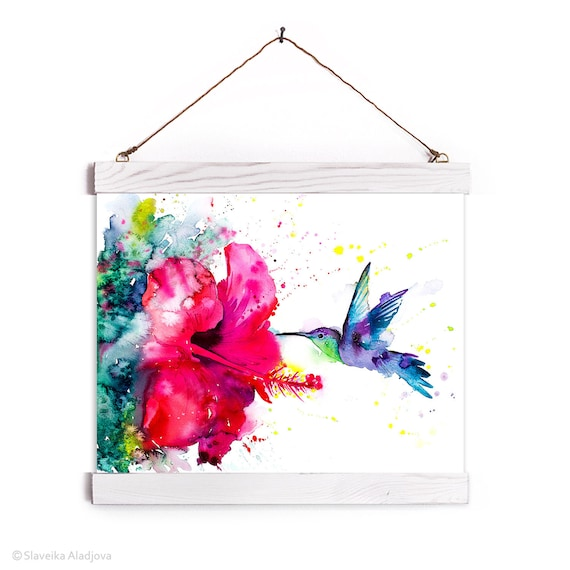 Violetear Hummingbird Watercolor Painting Framed, Wall Hanging print, Animal, Home Decor, Wall Art, Illustration, Ready to Hang, Nursery,