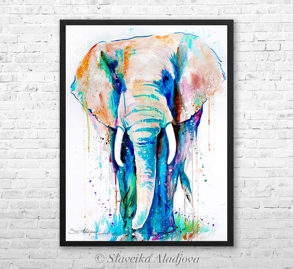 African Elephant watercolor framed canvas by Slaveika Aladjova, Limited edition, art, animal watercolor, animal illustration,bird art
