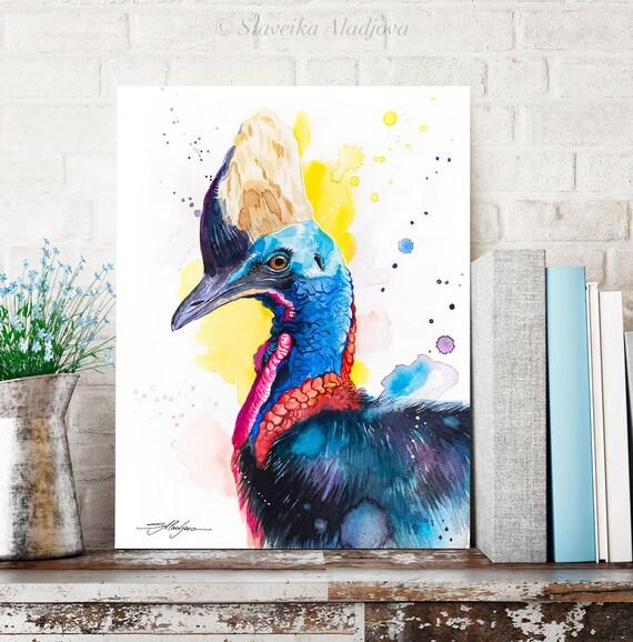 Cassowary watercolor painting print by Slaveika Aladjova, art, animal, illustration, bird, home decor, wall art, Wildlife, Contemporary