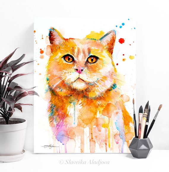 Cat watercolor painting print by Slaveika Aladjova, art, animal, illustration, home decor, Nursery, gift, Wildlife, wall art, cat art