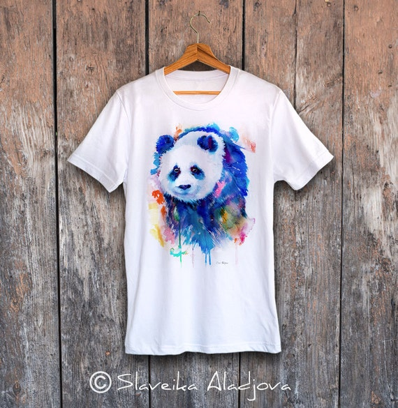 Panda T-shirt, Unisex T-shirt, ring spun Cotton 100%, watercolor T-shirt, T shirt art, T shirt animal, XS, S, M, L, XL, XXL