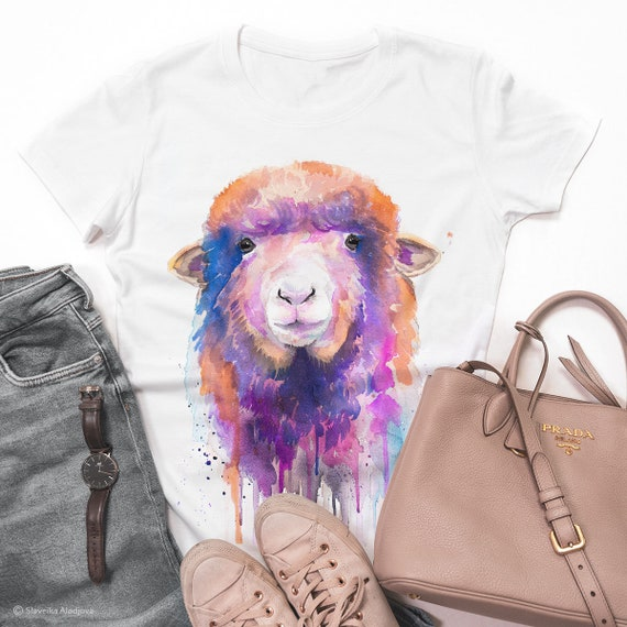 Colorful Sheep T-shirt, Watercolor ladies' T-shirt, women's tees, Sheep Lover Gift, Funny Sheep T-Shirt, ring spun Cotton 100%, print