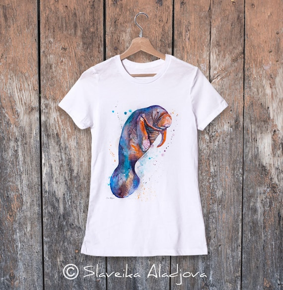 Manatee watercolor ladies' T-shirt, women's tees, Teen Clothing, Girls' Clothing, ring spun Cotton 100%, watercolor print