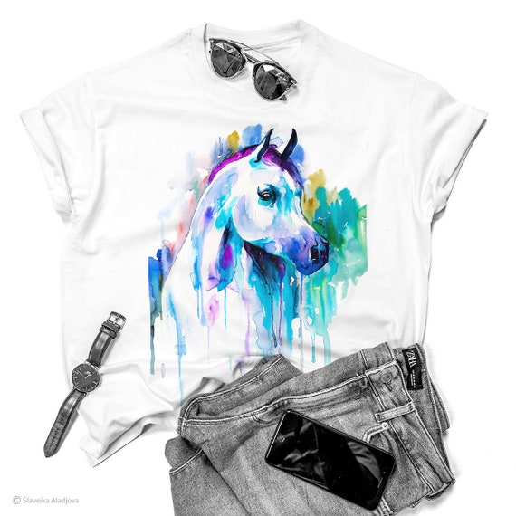Arabian horse T-shirt, horse unisex T-shirt, Men's tees, Horse Lover Gift, watercolor print tee, ring spun Cotton 100%, Colourful print