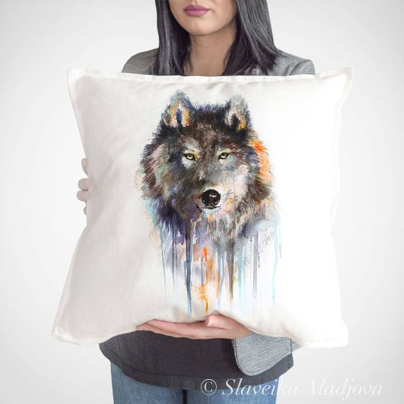 Charcoal Wolf throw pillow cover by Slaveika Aladjova, cushion cover, Decorative Pillow Cover, Animal Art, Watercolor pillow, Christmas gift