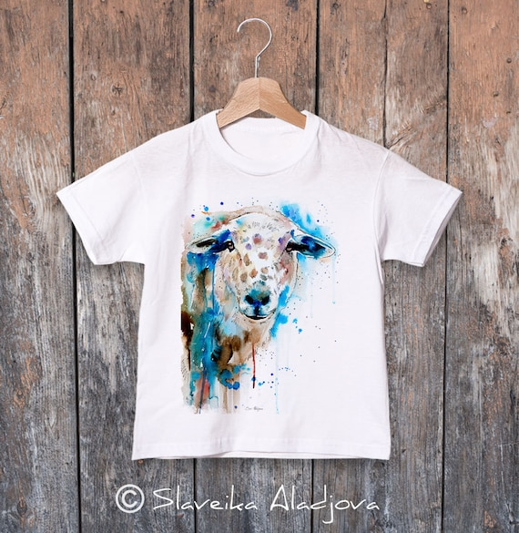 Sheep watercolor kids T-shirt, Boys' Clothing, Girls' Clothing, ring spun Cotton 100%, watercolor print T-shirt, T shirt art