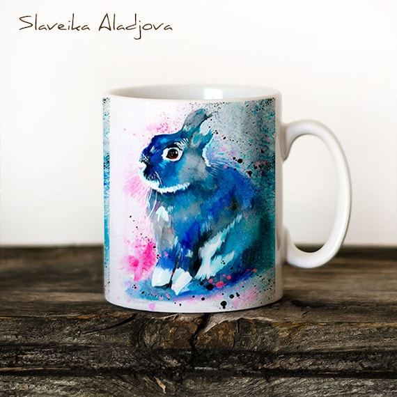 Rabbit Mug Watercolor Ceramic Mug Unique Gift Coffee Mug Animal Mug Tea Cup Art Illustration Cool Kitchen Art Printed mug