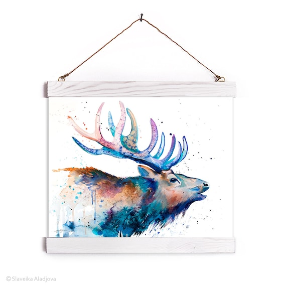 Red deer Watercolor Painting Framed, Wall Hanging print, Animal, Home Decor, Wall Art, Illustration, Ready to Hang, Nursery