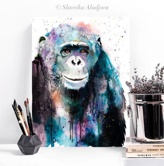 Chimp Chimpanzee watercolor painting print by Slaveika Aladjova, art, animal, illustration, home decor, Nursery, Wildlife, monkey