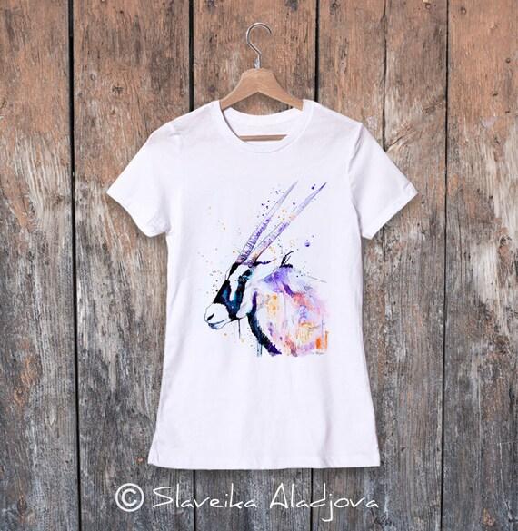 Gemsbok Antelope watercolor ladies' T-shirt, women's tees, Teen Clothing, Girls' Clothing, ring spun Cotton 100%, watercolor print