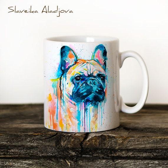 French Bulldog 2 Mug Watercolor Ceramic Mug Unique Gift Coffee Mug Animal Mug Tea Cup Art Illustration Cool Kitchen Art Printed mug dog