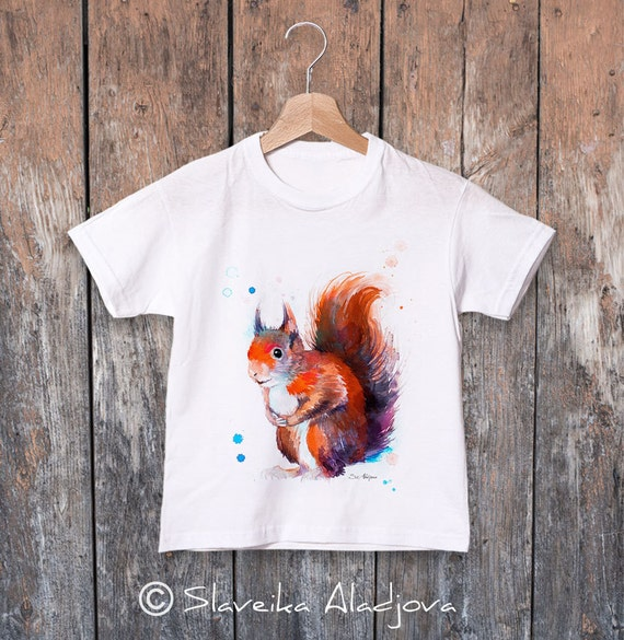 Red squirrel watercolor kids T-shirt, Boys' Clothing, Girls' Clothing, ring spun Cotton 100%, watercolor print T-shirt, T shirt art
