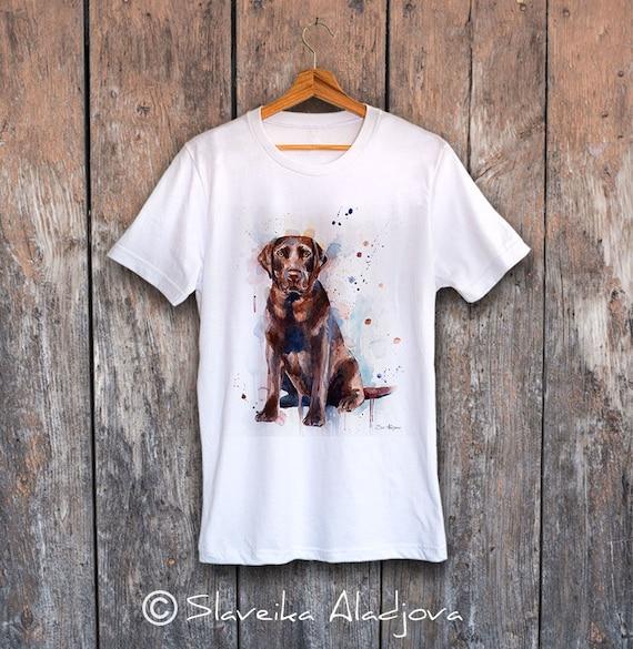 Chocolate Labrador T-shirt, Unisex T-shirt, ring spun Cotton 100%, watercolor print T-shirt, T shirt art,T shirt animal,XS, S, M, L, XL, XXL