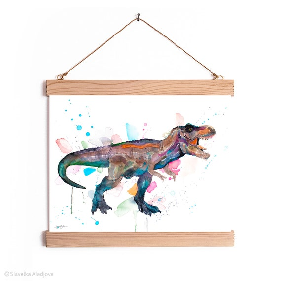 Tyrannosaurus rex, T rex dinosaur Watercolor Painting Framed, Wall Hanging print, Animal, Home Decor, Wall Art, Illustration, Ready to Hang,