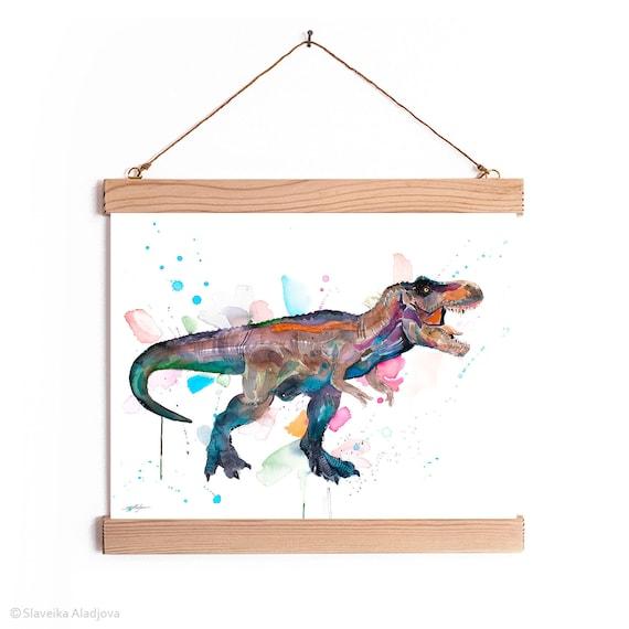 Tyrannosaurus rex, T rex dinosaur Watercolor Painting Framed, Wall Hanging print, Animal, Home Decor, Wall Art, Illustration, Ready to Hang,