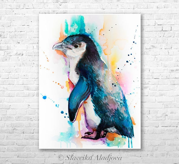 Little Blue Penguin watercolor painting print  by Slaveika Aladjova, animal, illustration, Sea art, sea life art, nautical, ocean art, bird