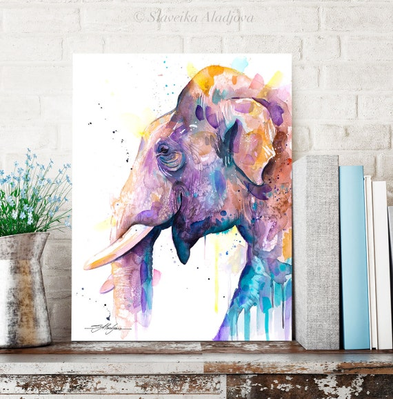 Asian Elephant Head watercolor painting print by Slaveika Aladjova, art, animal, illustration, home decor, Nursery, Wildlife, wall art, gift
