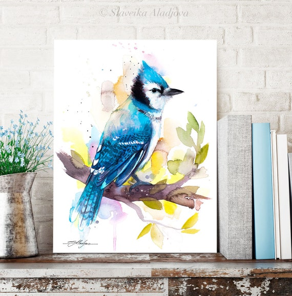 Blue Jay watercolor painting print by Slaveika Aladjova, art, animal, illustration, bird, home decor, wall art, gift, portrait, Flower