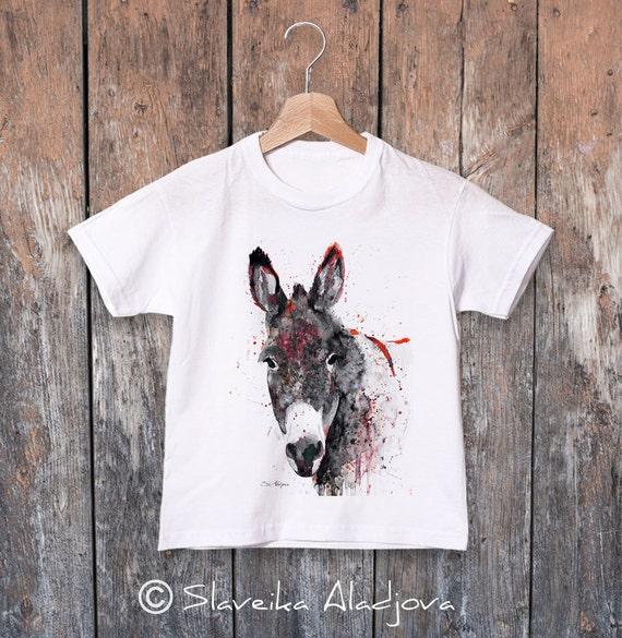 Donkey watercolor kids T-shirt, Boys' Clothing, Girls' Clothing, ring spun Cotton 100%, watercolor print T-shirt,T shirt art