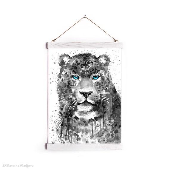 Schwarz und weiß Panther Leopard Jaguar Aquarell gerahmt, Wandbehang Druck, Tier, Home Decor, Illustration, bereit zum Aufhängen,
