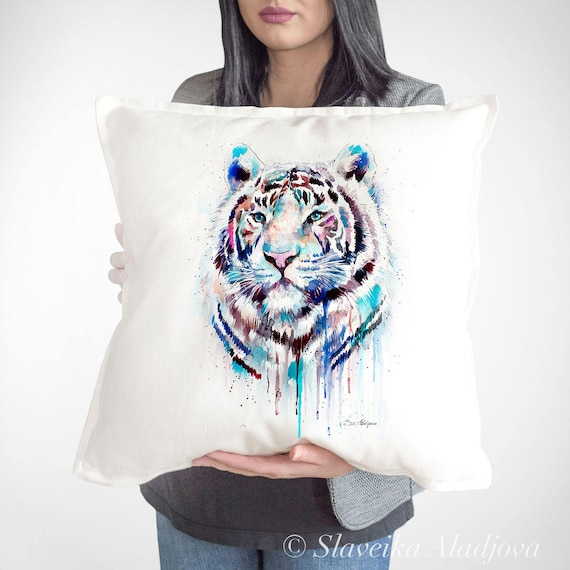 White tiger throw pillow cover by Slaveika Aladjova, cushion cover, Decorative Pillow Cover, Animal Art, Watercolor pillow, Christmas gift