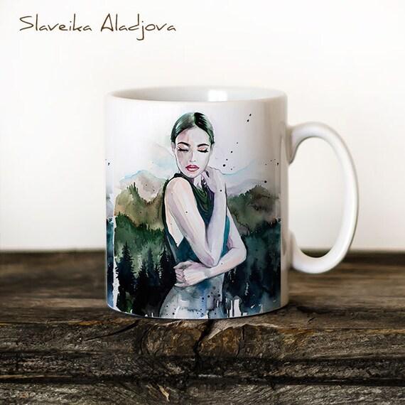 Mountain girl Mug Watercolor Ceramic Mug Unique Gift Coffee Mug Animal Mug Tea Cup Art Illustration Cool Kitchen Art Printed mug bird