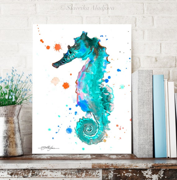 Blue Seahorse watercolor painting print by Slaveika Aladjova, art, animal, illustration, Sea art, sea life art, nautical, ocean art,wall art