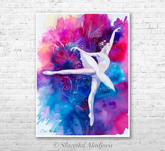 Ballerina watercolor painting print by Slaveika Aladjova, Fashion Illustration, Illustration, wall art, home decor ballet, dance, dancers,