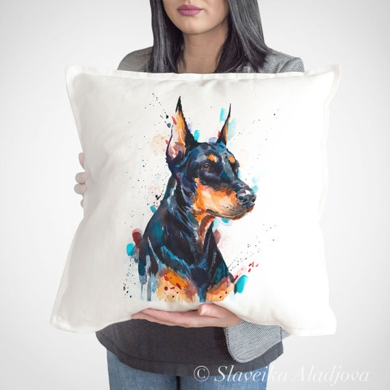 Doberman throw pillow cover by Slaveika Aladjova, cushion cover, Decorative Pillow Cover, Animal Art, Watercolor pillow, Christmas gift