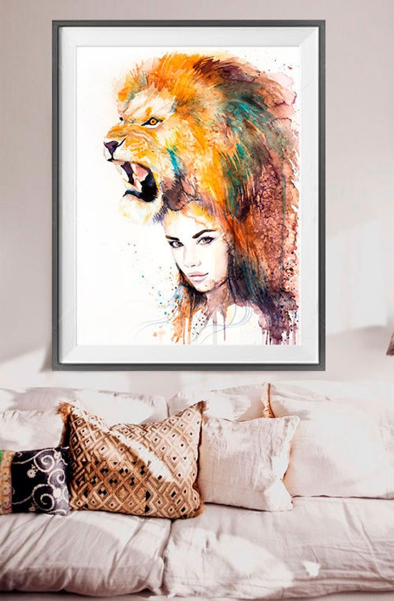 Lion Girl Watercolor Painting Print By Slaveika Aladjova Etsy