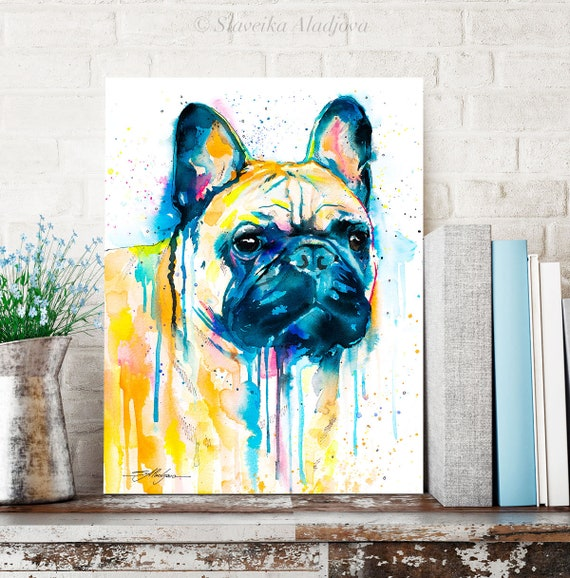 Fawn French Bulldog watercolor painting print by Slaveika Aladjova, animal, illustration, home decor, Contemporary, dog art, wall art