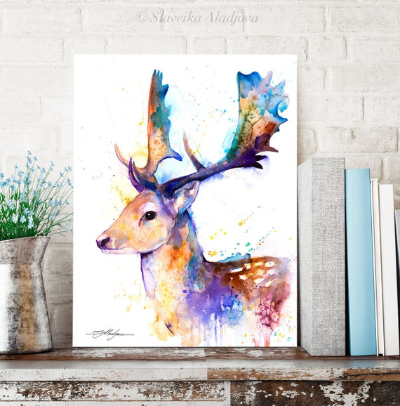 Fallow deer watercolor painting print by Slaveika Aladjova, art, animal, illustration, home decor, wall art, gift, portrait, Contemporary