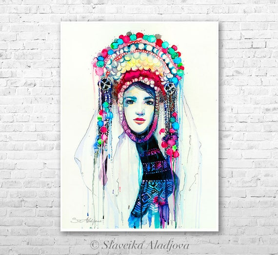 Fashion Illustration 5 watercolor painting print by Slaveika Aladjova, Woman art, Girl Illustration, Bulgarian national costume, wall art