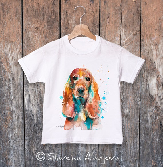 English Cocker Spaniel watercolor kids T-shirt, Boys' Clothing, Girls' Clothing, ring spun Cotton 100%, watercolor print T-shirt,T shirt art