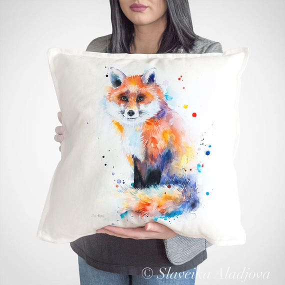 Fox throw pillow cover by Slaveika Aladjova, cushion cover, Decorative Pillow Cover, Animal Art, Watercolor pillow, Christmas gift