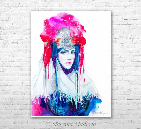 Fashion Illustration 8 watercolor painting print by Slaveika Aladjova, Woman art, Girl Illustration, Bulgarian national costume, wall art