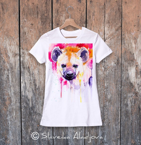 Hyena T-shirt, Ladies' T-shirt with Hyena print, women's tees, Hyena Lover Gift idea, Graphic tee, ring spun Cotton 100%