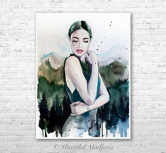 Mountain girl watercolor painting print by Slaveika Aladjova, Fashion Illustration, forest, Illustration, watercolour, wall art, home decor