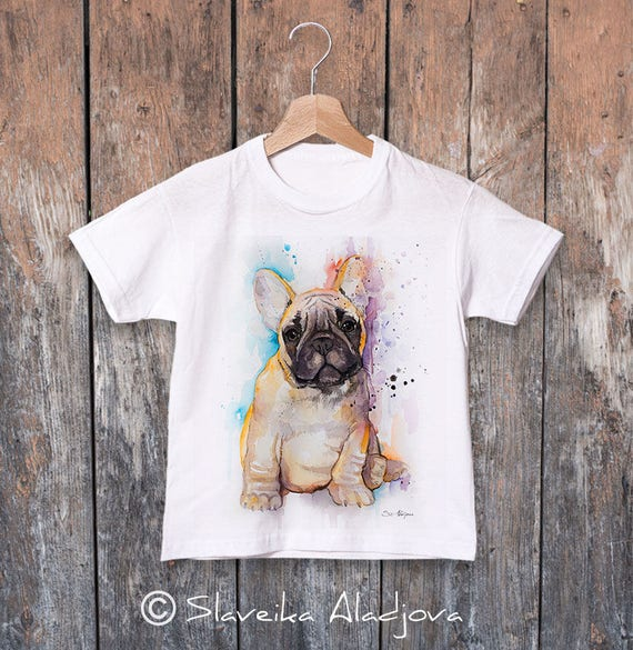 Fawn French Bulldog watercolor kids T-shirt, Boys' Clothing,Girls' Clothing, ring spun Cotton 100%, watercolor print T-shirt,T shirt art