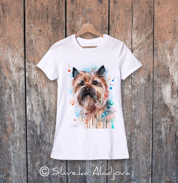 Cairn Terrier watercolor ladies' T-shirt, women's tees, Teen Clothing, Girls' Clothing, ring spun Cotton 100%, watercolor print