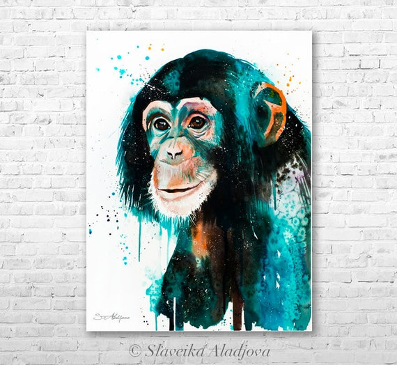 Original Watercolour Painting- Chimp Chimpanzee art, animal illustration, animal watercolor, animals paintings, animals, portrait,