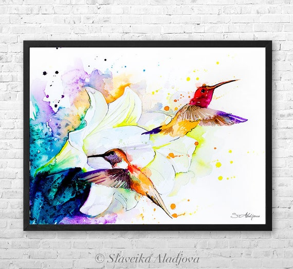 Hummingbirds watercolor framed canvas by Slaveika Aladjova, Limited edition, art, animal watercolor, animal illustration,bird art