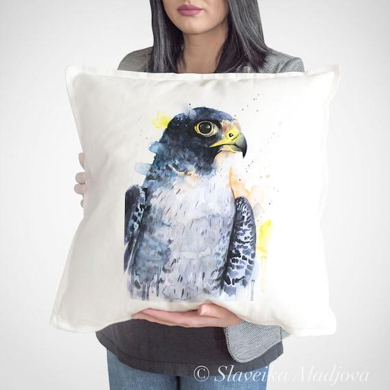 Peregrine Falcon throw pillow cover by Slaveika Aladjova, cushion cover, Decorative Pillow Cover, Animal Art, Watercolor pillow, Christmas