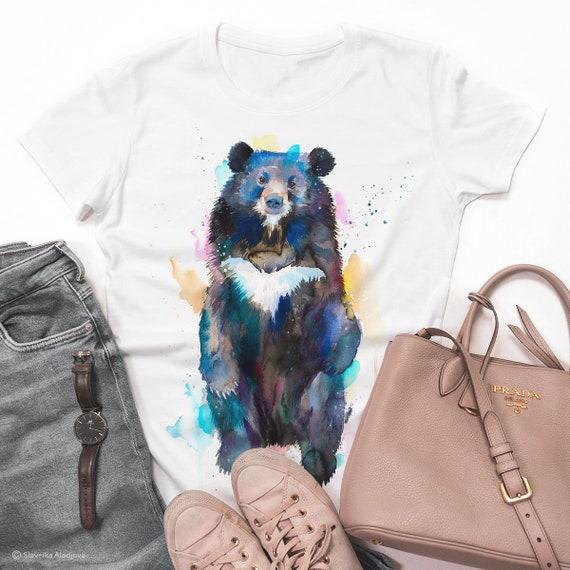 Asian black bear, Moon Bear watercolor ladies' T-shirt, women's tees, Teen Clothing, Girls' Clothing, ring spun Cotton 100%,watercolor print